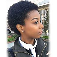 baratos -Elegante e requintado preto curto curly cabelo humano perucas para mulheres