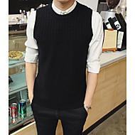 Masculino Padrão Colete,Casual Sólido Decote Redondo Sem Manga Outros Inverno Primavera Média Micro-Elástica