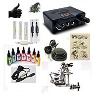 baratos Kits de Tatuagem para Iniciantes-BaseKey Máquina de tatuagem Conjunto de Principiante - 1 pcs máquinas de tatuagem com 7 x 15 ml tintas de tatuagem, Profissional Fonte de