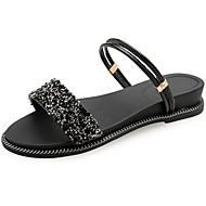 Mujer Zapatos Cuero de Napa Verano Talón Descubierto Zuecos y pantuflas Tacón Plano Dedo redondo Negro / Morado / Plateado Gwu586