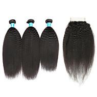 Cabelo Humano Cabelo Brasileiro Trama do cabelo com Encerramento Kinky Liso Extensões de cabelo 4 Preto
