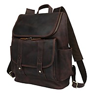 Men Bags Cowhide Backpack for Casual Outdoor All Seasons Dark Brown