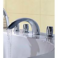 Kortárs Modern stílus Elterjedt Vízesés Kézi zuhanyzót tartalmaz with  Réz szelep Három fogantyúk öt lyuk for  Króm , Kád csaptelep