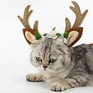 Χαμηλού Κόστους Χριστουγεννιάτικα κοστούμια για κατοικ-Γάτα Σκύλος Αξεσουάρ μαλλιών Ρούχα για σκύλους Τάρανδος Καφέ Χνουδωτό Ύφασμα Στολές Για κατοικίδια Πάρτι Στολές Ηρώων Χριστούγεννα