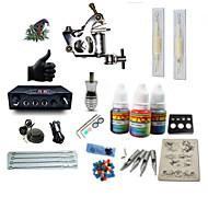 billige Tatoveringssett for nybegynnere-BaseKey Tattoo Machine Startkit - 1 pcs tattoo maskiner med 1 x 5 ml tatovering blekk, Profesjonell LCD strømforsyning No case 1 x stål