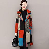 Kaput Normalne dužine Žene, Ulični šik Izlasci Kragna košulje Zima Jesen Print Kašmir Poliester