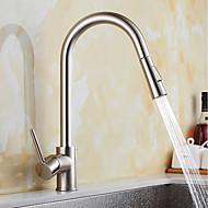preiswerte Küchenarmaturen-Moderne Pull-out / Pull-down Standard Spout Becken Verbreitete drehbar Ausziehbare Keramisches Ventil Gebürsteter Nickel , Armatur für