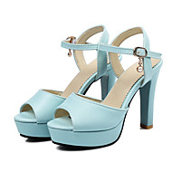 cheap Extended-Size Shoes-Women's Shoes PU Spring Fall Novelty Comfort Sandals Peep Toe Buckle Hollow-out for Office & Career Party & Evening White Blue Pink