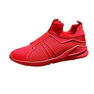 Men's Athletic Shoes Comfort Spring Fall Tulle Running Shoes Athletic Flat Heel Red Black White Flat