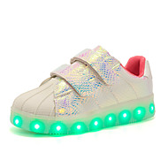 Girls' Shoes Synthetic Fall Winter Light Up Shoes Comfort Sneakers Sparkling Glitter LED Lace-up For Casual Party & Evening Blushing Pink