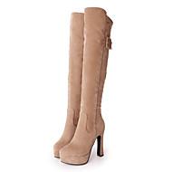 Dames Schoenen Nubuck leder Herfst Winter Comfortabel Noviteit Modieuze laarzen Laarzen Gepuntte Teen Knielaarzen Gesp Rits Voor Formeel
