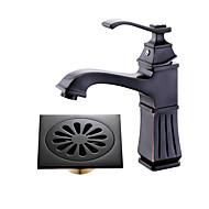 halpa -Integroitu Laajallle ulottuva Keraaminen venttiili Yksi kahva yksi reikä Öljytty pronssi , Kylpyhuone Sink hana