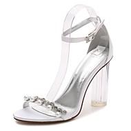 baratos Sapatos Femininos-Mulheres Sapatos Cetim Primavera / Verão Plataforma Básica / Tira no Tornozelo / Shoe transparente Sapatos De Casamento Salto Robusto /