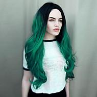 Syntetiske parykker Bølget Syntetisk hår Grøn Paryk Medium Længde Lågløs Grøn