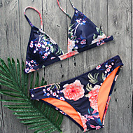 Dame Bikini Badetøj Solid dyb halsudskæring Snøre,Trykt mønster Navyblå