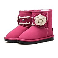 cheap Girls' Shoes-Girls' Shoes Leather Winter Flower Girl Shoes Snow Boots Comfort Boots Mid-Calf Boots Rhinestone Beading Sparkling Glitter Flower for
