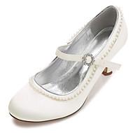 cheap Wedding Shoes-Women's Shoes Satin Spring Summer Comfort Basic Pump Wedding Shoes Kitten Heel Low Heel Stiletto Heel Round Toe Rhinestone Pearl