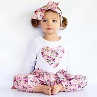 Toddler Girls' Floral / Dresswear Floral / Embroidered Print Long Sleeve Regular Regular Cotton / Polyester Clothing Set Pink