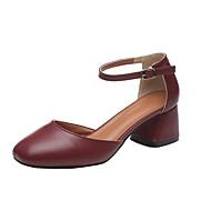 Žene Cipele Umjetna koža Ljeto Udobne cipele Cipele na petu Kockasta potpetica Okrugli Toe Kombinacija materijala za Kauzalni Crn Bež