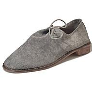 נשים נעליים עור נובוק סתיו נוחות נעלי אוקספורד עקב נמוך בוהן עגולה שרוכים עבור שחור אפור
