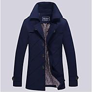 Erkek Pamuklu Suni İpek Polyester Uzun Kol V Yaka Sonbahar Kış Solid Vintage Dışarı Çıkma Günlük/Sade Uzun-Erkek Ceketler