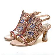 baratos Sapatos de Tamanho Pequeno-Mulheres Sapatos Couro Ecológico Verão / Outono Conforto / Inovador Sandálias Salto Robusto Dedo Aberto Cristais / Presilha Dourado /