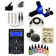 billige Tatoveringssett for nybegynnere-Tattoo Machine Startkit 1 x roterende tatoveringsmaskin til lining og skyggelegging LED strømforsyning 5 x engangsgrep 5 stk tattoo Nåler