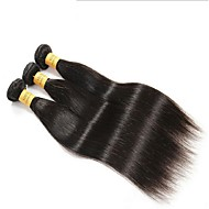 billige -Jomfru Brasiliansk hår Bundle Hair Rett Hårforlengelse 3 deler Svart