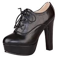 baratos Sapatos de Tamanhos Grandes-Mulheres Sapatos Couro Ecológico Primavera / Verão Plataforma Básica / Botas da Moda Botas Salto Robusto / Plataforma Dedo Apontado