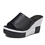 Women's Shoes PU Spring Summer Slingback Sandals Wedge Heel Open Toe Split Joint For Dress Black White