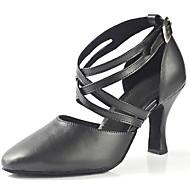 billige Moderne sko-Dame Moderne sko Kunstlær Sandaler / Høye hæler Spenne Kustomisert hæl Kan spesialtilpasses Dansesko Svart / Profesjonell