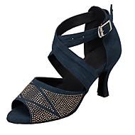 baratos Sapatilhas de Dança-Mulheres Sapatos de Dança Latina Camurça Sandália Pedrarias Salto Personalizado Sapatos de Dança Verde / Azul marinho / Leopardo