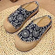 Feminino Sapatos Linho Verão Conforto Mocassins e Slip-Ons Rasteiro Ponta Redonda Para Casual Azul Escuro Azul