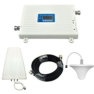 Mobile Phone Signal Booster 3G W-CDMA 2100mhz DCS 4G 1800mhz Signal Repeater with Ceiling Antenna / Log Periodic Antenna / White / Full Set