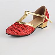 billige Moderne sko-Dame Moderne sko Paljett Lav hæl Kan spesialtilpasses Dansesko Gull / Rød / Innendørs
