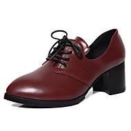 Feminino Sapatos Pele Nobuck Primavera Outono Conforto Saltos Salto Grosso Para Casual Preto Cinzento Vinho