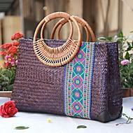 cheap Bags-Women's Bags Straw Tote Zipper for Casual All Seasons Beige Purple Dark Green
