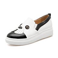 Damen Schuhe Kunstleder Herbst Komfort Neuheit Loafers & Slip-Ons Flacher Absatz Runde Zehe Für Normal Kleid Weiß Schwarz Rosa