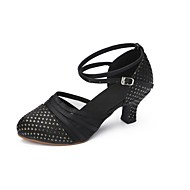 cheap Modern Shoes-Women's Modern Fabric Heel Professional Buckle Cuban Heel Black