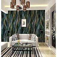 Damaskvev 3D Geometrisk mønster Tapet til Hjemmet Rustikk Tapetsering , Lerret Materiale selvklebende nødvendig Veggmaleri , Tapet