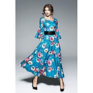女性用 ストリートファッション スウィング ドレス フラワー マキシ