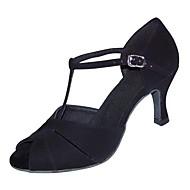 """Χαμηλού Κόστους Παπούτσια χορού-Γυναικεία Λάτιν Χνούδι Πέδιλα Τακούνια Επαγγελματική Αγκράφα Προσαρμοσμένο τακούνι Μαύρο 1 """"- 1 3/4"""" 2 """"- 2 3/4"""" 3 """"- 3 3/4"""" 4"""" & Πάνω"""