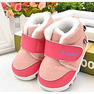 Bebê sapatos Couro Ecológico Inverno Forro de fluff Primeiros Passos Rasos Para Casual Laranja Amarelo Claro Rosa claro