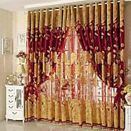 Barra no Interior Anéis Único Plissado Tratamento janela Glamorouso , Bordado Sala de Estar Material Cortinas Blackout Decoração para casa