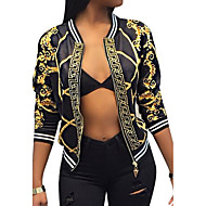 cheap -Women's Daily / Going out / Weekend Vintage / Street chic Spring / Fall Short Jacket, Tribal V Neck Polyester Print White / Black M / L / XL