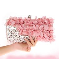 billige Designer Evening Bags-Dame Poser Chiffon Aftenveske Krystalldetaljer / Blomst Lilla / Mandel / Fuksia / Bryllup Vesker