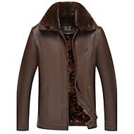 Masculino Jaquetas de Couro Para Noite Casual Simples Sensual Temática Asiática Inverno,Sólido Padrão Algodão Colarinho de Camisa Manga
