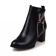 preiswerte -Damen Schuhe Kunstleder PU Herbst Winter Komfort Neuheit Stiefeletten Stiefel Blockabsatz Runde Zehe Booties / Stiefeletten Reißverschluss