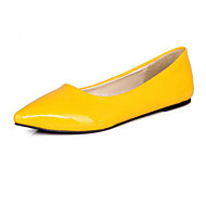 Women's Shoes Patent Leather Spring Fall Comfort Basic Pump Flats For Casual Black Yellow Red Blue Almond
