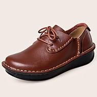 Feminino Sapatos Pele Napa Outono Inverno Conforto Oxfords Cadarço Para Casual Social Preto Marron